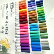 Аквамаркеры двусторонние, набор 60 цветов