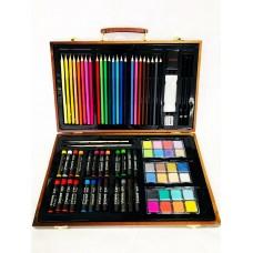 Набор художника, 80 предметов в деревянном чемоданчике