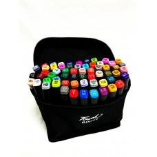 Маркеры для скетчинга, набор 60 цветов черные в сумке